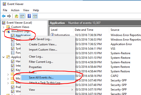 Event Viewer Save All As